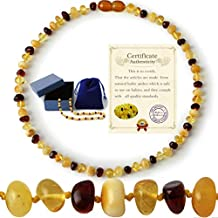 Baltic Amber Teething Necklace for Babies Anti Flammatory Drooling Teething Pain Reduce Properties Natural Certificated with Highest Quality Real Amber Jewelry (multi)