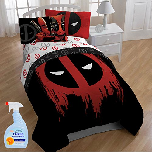 Marvel Deadpool Kids 4-Piece TWIN Size Bed in a Bag Reversible Comforter Set with Fabric Freshener