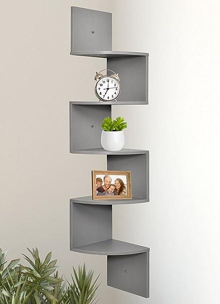 Astonishing 5 Tier Zigzag Corner Wall Wooden Floating Display Shelf Shelves Storage Rack Grey Download Free Architecture Designs Itiscsunscenecom