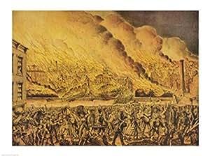 Vista del Gran Incendio de Chicago Artistica di Stampa (60,96 x 45,72 cm)