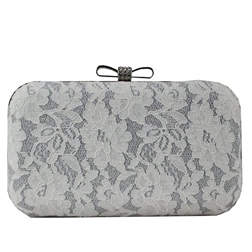 Bowknot Wedding Beaded Purse Evening Prom Bags Clasp Lace Clutch Womens white Party n6qABCAT