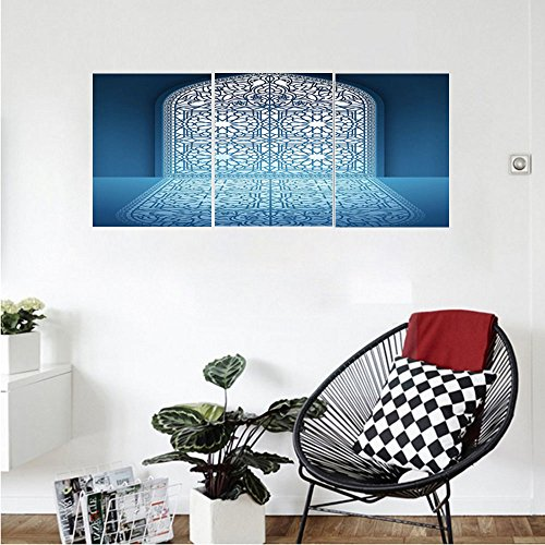 Liguo88 Custom canvas Arabian Decor Collection Doors of Antique Old Mosque Grace Faith Theme Islamic Eid Ethnic Illustration Print Bedroom Living Room Wall Hanging White Turquoise by Liguo88