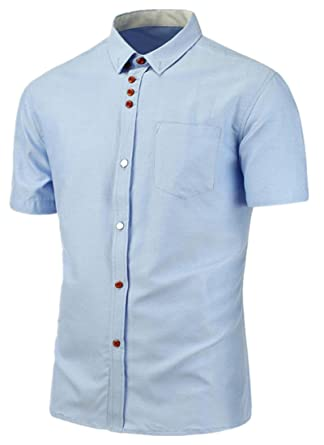 XTX Men's Casual Solid Color Short Sleeve Button Down Shirts at ...