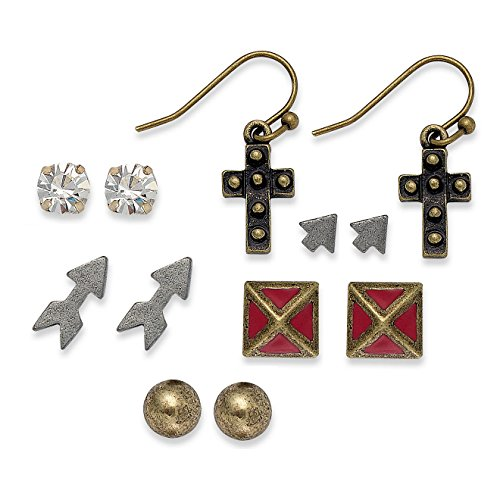 Pyramid Stud Cross - American Rag Earring Set, 6 Pairs of Tri-Tone Cross, Arrows, Pyramid, Crystal Stud Earrings