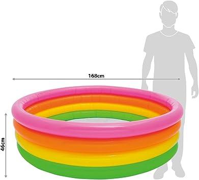 Intex 56441NP - Piscina hinchable 4 aros colores 168 x 46 cm,780 litros: Amazon.es: Juguetes y juegos