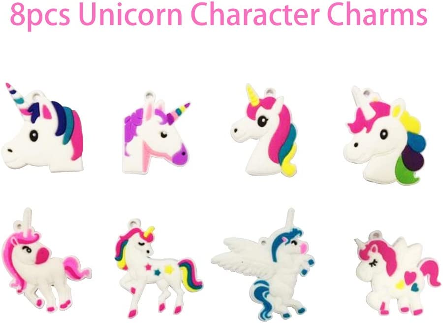 Happytime Rubber Character Charms Pop Beads 208 Pieces DIY Snap Pop Beads with 8pcs Unicorn Character Charms Jewelry Kit for Necklace Ring Bracelet Art Crafts Girls Toys for Kids Age 3+