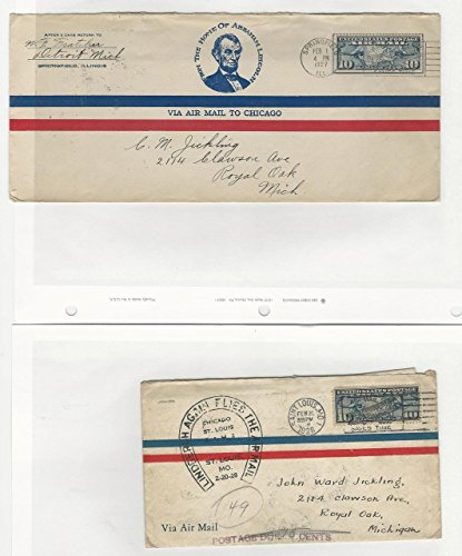 United States, Postage Stamp, C7 Two Covers, Lindbergh, Airmail, -