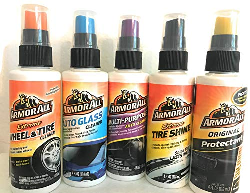 Complete Car Care Armor All Bundle. Extreme Tire Shine, Original Protectant, Multi-Purpose Auto Cleaner, Extreme Wheel & Tire and Auto Glass. 5-Pack 4oz each Variety Pack for the Love of your vehicle.