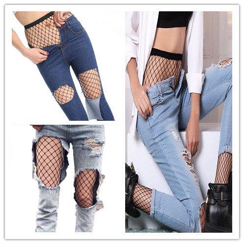 d59f74c20f64a Senchanting Women Hot Chic Vintage Black Big Cross Fishnet Tights Seamless  Nylon Large Mesh Stockings Pantyhose