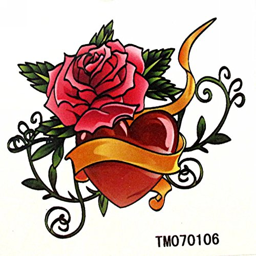 MapofBeauty Red Rose and Heart-shaped Temporary Waterproof Body Tattoo Sticker (2 (Temporary Rose Tattoos)