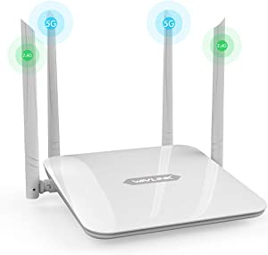 WiFi Router,1200Mbps Home Router High Power Wireless Router AC1200 Dual Band 5G+2.4Ghz Smart Computer Routers High Speed WiFi Box with Amplifiers PA+LNA, 2 x 2 MIMO 5dBi Antennas