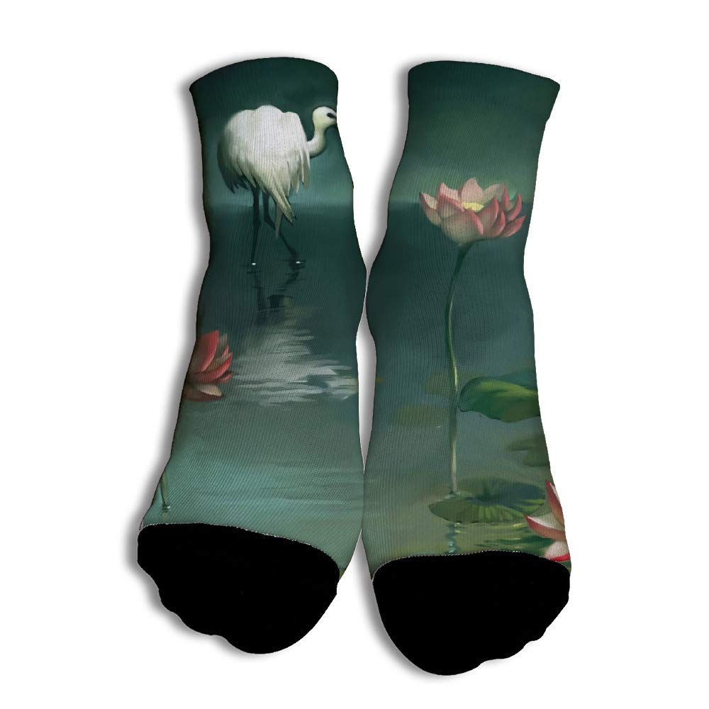 Athletic White Crane And Pond Colorful Low Cut Liner Socks with Colorful Printing for Teenagers