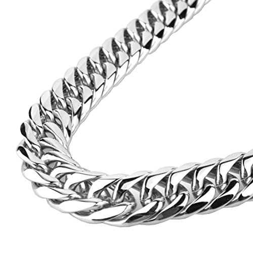 - GZMZC 9/11/13/16/19/21mm Fashion Silver Stainless Steel Cut Cuban Curb Link Chain Cool Mens Bracelet Necklace 7-40inches(13mm,16inches)