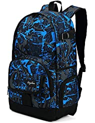 Ricky-H Stylish Pattern Multi-Purpose College Backpack for Students, Men & Women, Fits Laptop up to 15.6 Inch-Blue