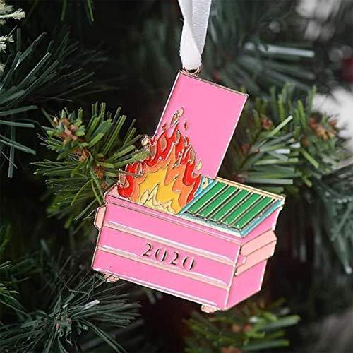 YUGHGH Christmas Ornament 2020/XMAS Decorations 2020 Christmas Ornament 2020 Fire Christmas Ornament Christmas Tree Wooden Pendants (3PCS, RED)