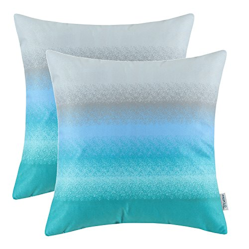- CaliTime Pack of 2 Cozy Fleece Throw Pillow Cases Covers for Couch Bed Sofa Modern Gradient Ombre Rainbow Stripes 18 X 18 Inches Gray to Teal