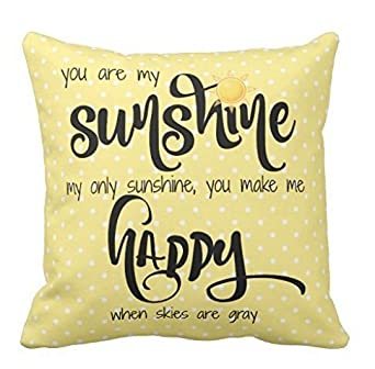 45cm x 45cm, Two Sides Yqy You Are My Sunshine Yellow Black Tiny Polka Dots Throw Pillow Case