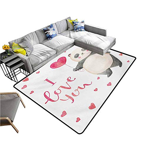 Kitchen Doormat Love You,Cute Panda Bear Holding A Balloon Valentines Hearts Watercolor Art,Dark Coral Ivory Gray 60