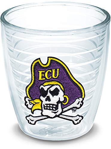 Tervis 1142639 East Carolina Pirates Cross Bones Logo Tumbler with Emblem 12oz, Clear