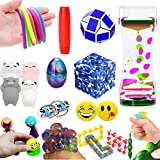 [Gift Box]The Ultimate Sensory Fidget Toys For Adults&Kids 14 Varieties 21 Packs Mochi Squishies Toys/Infinity Cube/Emoji Stress/Squeeze Bean/Fidget Stick/Twisted Toy/Fidget Cube ADD ADHD Stress Relax