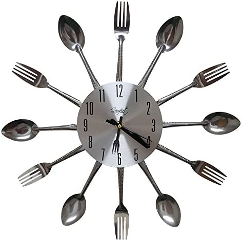 Comfort Home Cutlery Kitchen Spoon Fork Decorative Wall Clock, Sliver
