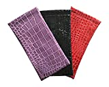 3 Pack Assorted Shiny Eyeglass Case Spring Top Faux Crocodile Black Red Purple