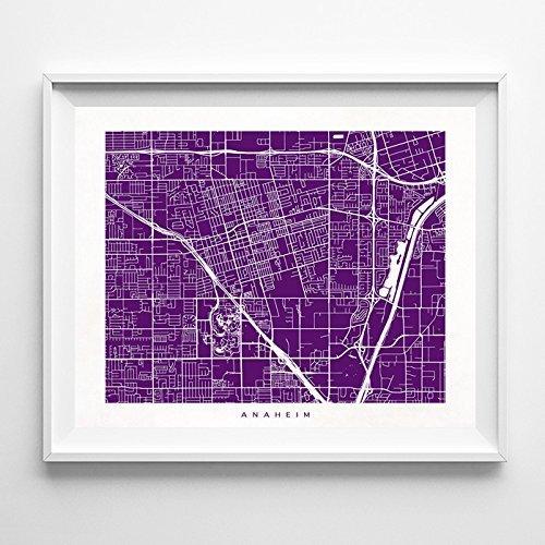 Anaheim California Street Road Map Poster Wall Art Print  Mo