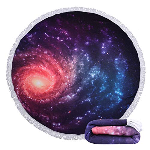 Violet Mist Mandala Tapestry Round Beach Towel Yoga Picnic Mat Roundie Tablecloth Water Absorbent Terry Towel with Tassels (Galaxy)