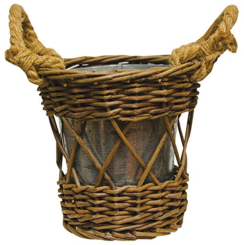CWI Gifts Woven Willow Twig Basket with Galvanized Metal Pot Planter (Set of 2), 6.25