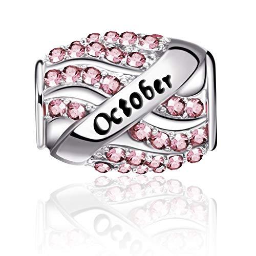 Birthstone Bead Charms Bracelet Bead Openwork Charms Happy Birthday Charms Bracelet Necklace