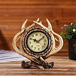 Alarm Clock American Retro Exquisite Personality Antlers Creative Do Old Home Bar Café Practical Decorative Gifts Christmas
