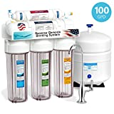 Express Water 5 Stage Under Sink Reverse Osmosis Filtration System 100 GPD RO Membrane Filter Deluxe Faucet Clear Housing Ultra Safe Residential Home Drinking Water Purification One Year Warranty