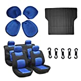 Scitoo 9-PCS Trunk Liner Floor Mat Mesh Black/Blue Car Seat Covers W/4 Headrest Covers for Heavy Duty Vans Trucks