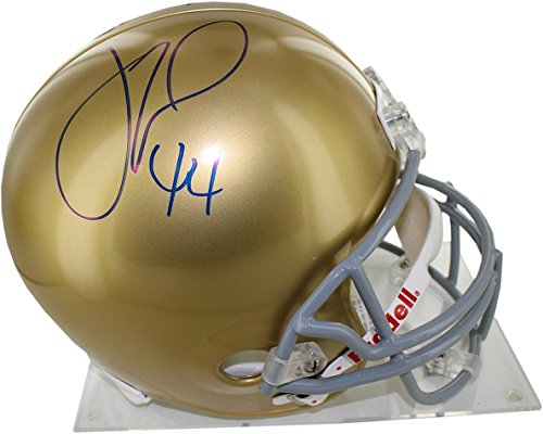 (NCAA Notre Dame Fighting Irish Justin Tuck Signed Notre Dame Full Size Replica Helmet)