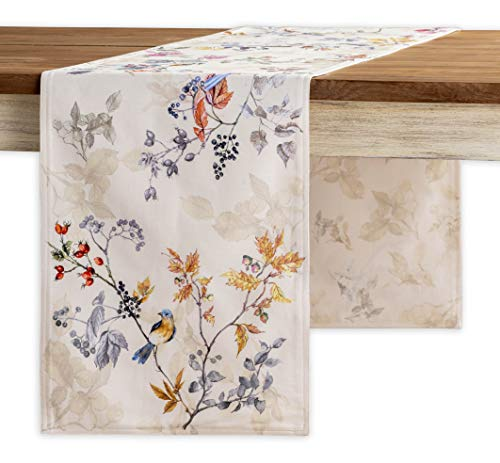 Maison d' Hermine Equinoxe 100% Cotton Beige Table Runner Double Layer 14.5 Inch by 108 Inch.