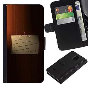 NEECELL GIFT forCITY // Billetera de cuero Caso Cubierta de protección Carcasa / Leather Wallet Case for Samsung Galaxy S5 Mini, SM-G800 // Memo en la puerta de mi querido