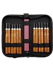 Legno Coltello a mano Scalpelli corredo di attrezzi per carpentieri con Whetstone pacchetto professionale (12 pezzi)