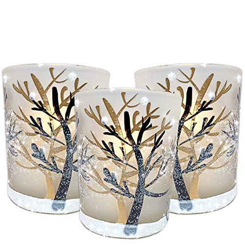 BANBERRY DESIGNS Glittery Winter Trees and Snow Set of 3 Frosted Glass Tealight Candle Holders with Three Flameless Flickering LED Candles Included -