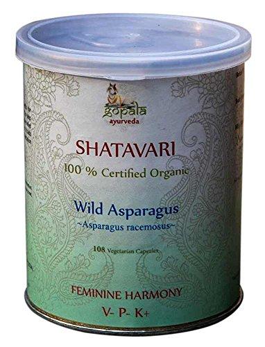SHATAVARI Capsules (USDA Certified Organic) Asparagus racemosus -108 Veggie Caps of 500mg Each