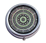 Joyce Wesley Pill-Box Mandala Pattern Custom Made Pill Box/Pill case-Circular Pill Box/case- Decorative Pill Case with Gift Box - Carry Your Meds in Style (Indian Mandala)