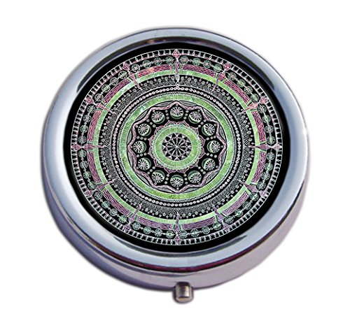 Joyce Wesley Pill-Box Mandala Pattern Custom Made Pill Box/Pill case-Circular Pill Box/case- Decorative Pill Case with Gift Box - Carry Your Meds in Style (Indian Mandala) by Joyce Wesley