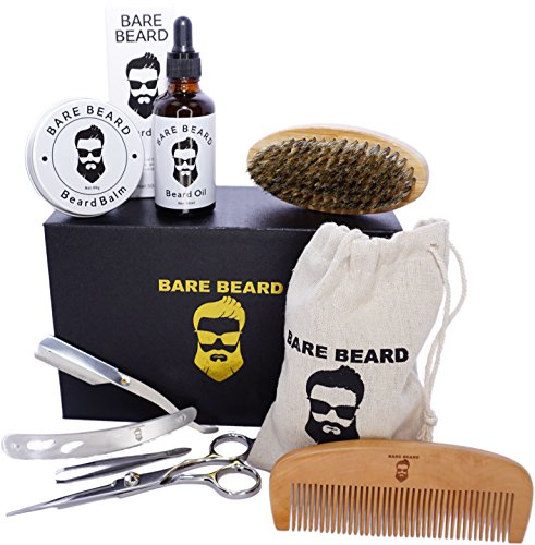 Bare Beard Oil Grooming & Trim Kit Men's Gift Set - [2018 Launch] 100% Natural Beard Oil, Balm Conditioner, Comb, Brush, Folding Straight Edge, Tweezers & Scissors For Styling and Hair Care
