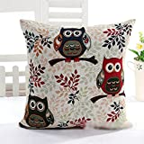 Luxury Owl Linen Cotton Throw Pillow Case Home Sofa Bed Car Cushion Cover Three Eagle