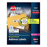 Avery WeatherProof Mailing Labels, TrueBlock Technology, Permanent Adhesive, 1'' x 2-5/8'', Box of 1,500, Case Pack of 5 (5520)