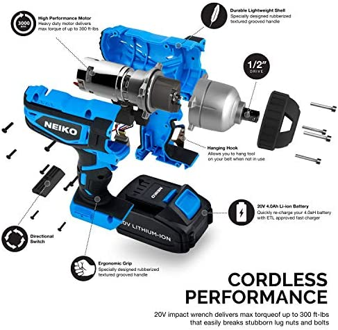 Neiko 10878A 20 V Lithium-Ion Cordless Impact Wrench with Li-Ion Battery, Fast Charger and Socket Adapters Set 1 2-Inch Square Drive