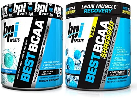 BPI Sports Muscle Recovery Weight Loss Branched Chain Amino Acid Stack – Best BCAA 30 Servings and Best BCAA Shredded 25 Servings Blue Raspberry