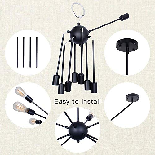 Sputnik Chandelier Black Ceiling Lighting Metal Retro Industrial Vintage Pendant Lighting with 8 Lights use E26 Light Bulb for Indoor