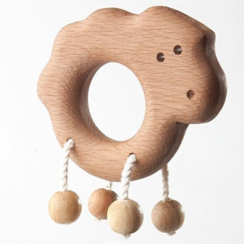 Wooden Lamb. Organic Wooden Teether. Organic Wooden Rattle Toy. Teething Toy.