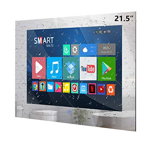Haocrown 21.5-inch Smart Bathroom Mirror TV with IP66 Waterproof Full-HD Android 10.0 Television Built-in Integrated HDTV(ATSC) Tuner, Wi-Fi,Bluetooth,Waterproof Speakers(2021 Model)