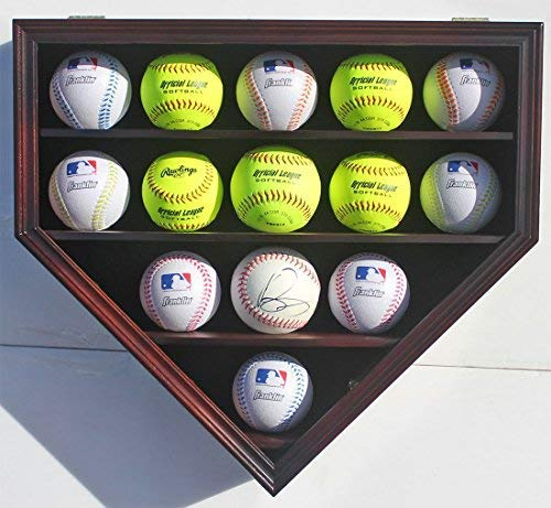 14 Softballs or Baseball Cubes Display Case Cabinet Wall Rack Home Plate Shaped w/UV Protection (Mahogany Finish) ()